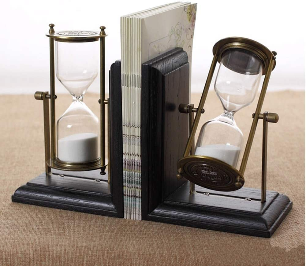 BR Books Buchst/ützen Sanduhr Design Heavy Duty schwarz Metall Holz Buch Teiler f/ür Regale einzigartige Vintage Dekoration Buch Stand Inhaber Pack 2