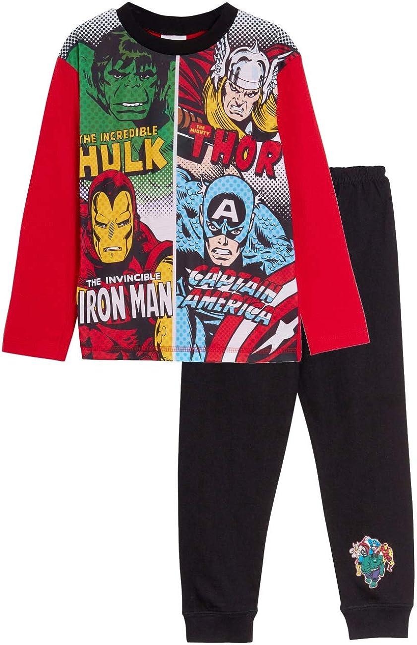 Marvel Boys Avengers Pigiama Lungo Pjs Full Length Nightwear Set Bambini Super Hero Hulk Thor Capitan America Iron Man