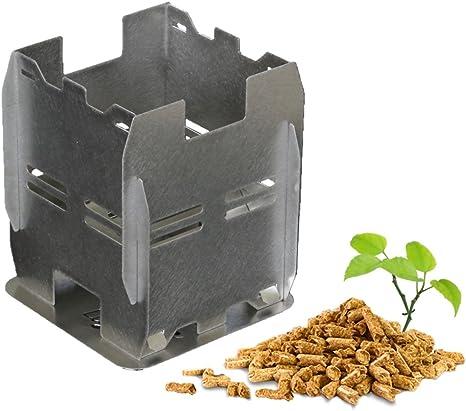 Clever Fire Lighter Estufa ecológica de pellets de Madera o leña para Camping y Senderismo, Plegado Plano