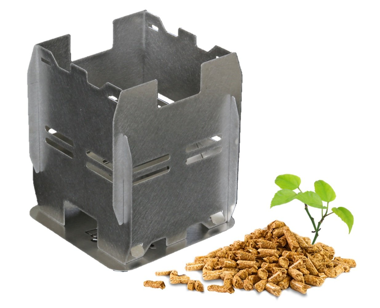 plegado plano Estufa ecol/ógica de pellets de madera o le/ña para camping y senderismo