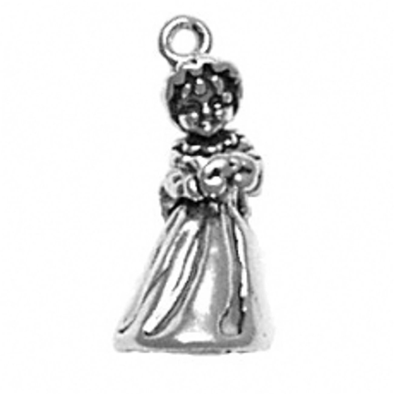 Sterling Silver Girls .8mm Box Chain 3D Little Girl Holding A Heart Wearing A Bonnet Pendant Necklace