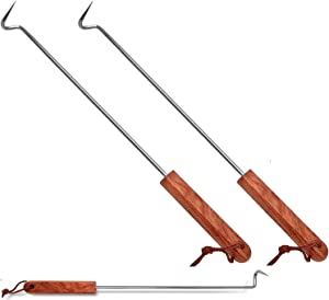 LQLMCOS Food Flipper Turner Hooks Stainless Steel BBQ Meat Hooks Cooking Barbecue Turners Hooks Grill Accessories with Wooden Handle for Grilling & Smoking (Style A-Two Pack)