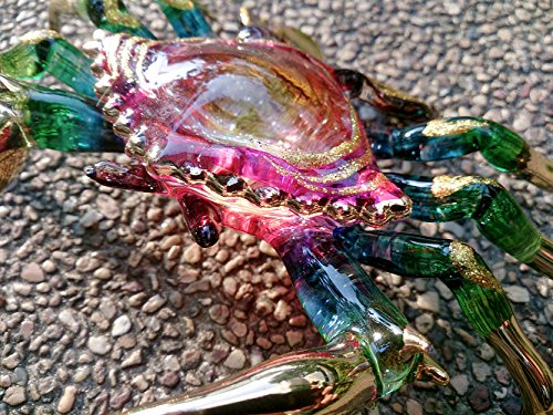 Sansukjai Crab Figurines Animals Hand Painted Pink Red Boho Style Hand Blown Glass Art Collectible Gift - Blown Pink Glass