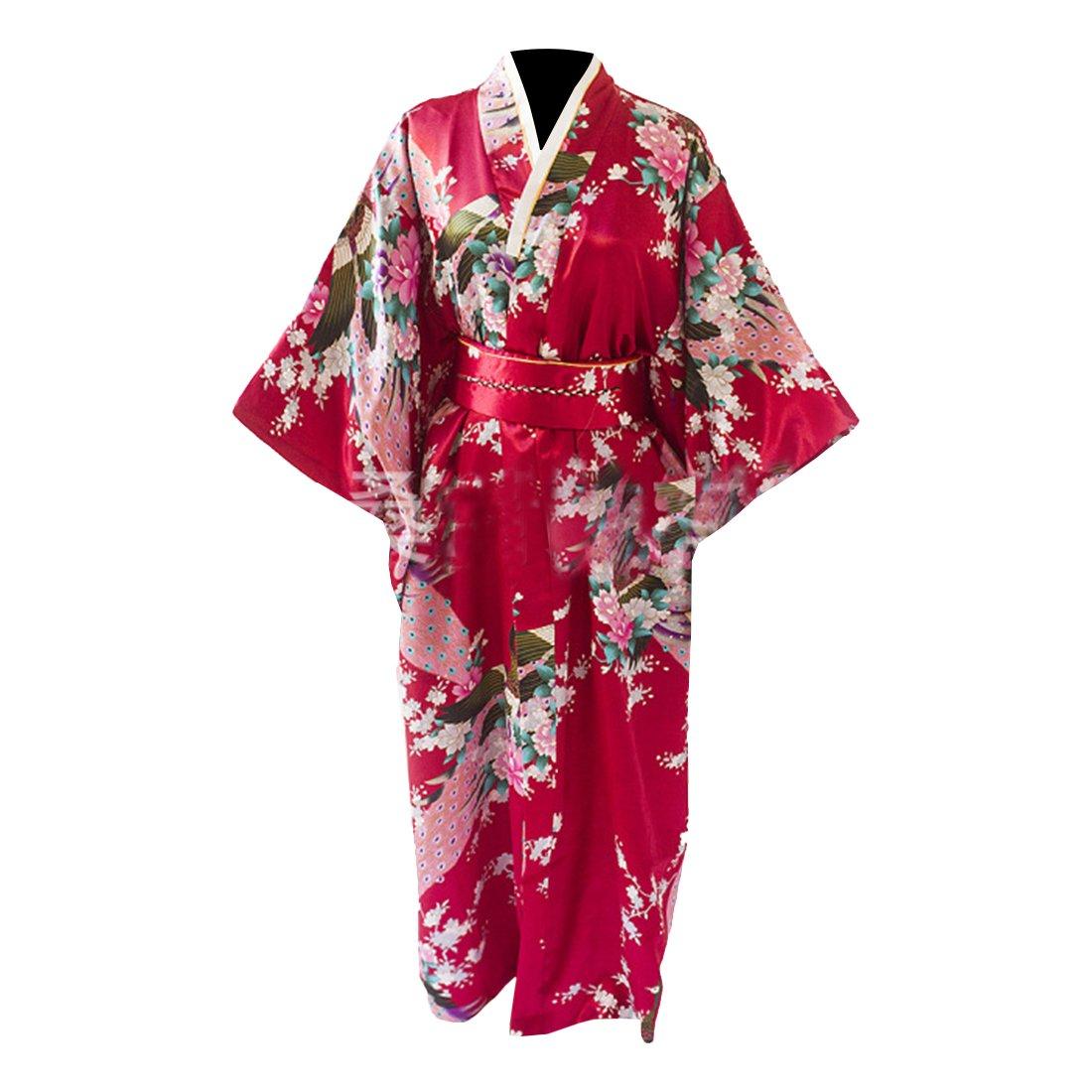 Partiss Women's Gorgeous Japanese Traditional Satin Kimono Robe One Size Black 2017060902-126