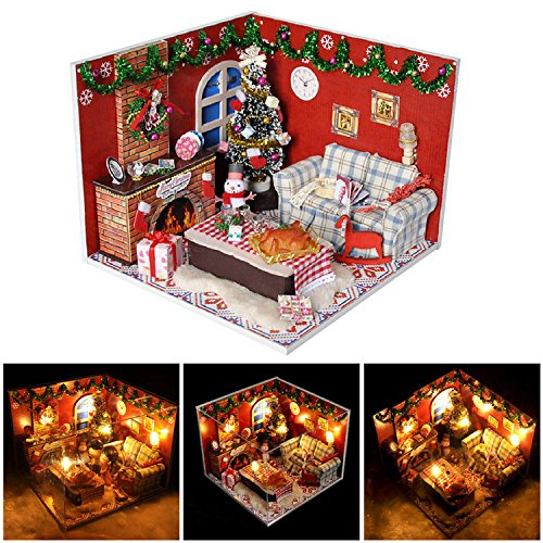 Mini Scene Kit - Miniature Dollhouse Kits Mini DIY Baby Doll House with LED Light Furniture and Cover Creative Artwork Toy Birthday Christmas Style Gift for Girls Kids by Yunhigh