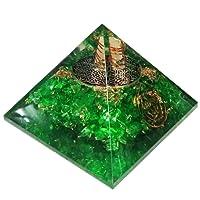 Vert Péridot Orgonite Pyramid/reiki Crytsal pyramides pour Guérir et Chakra Décoration 65mm avec étui