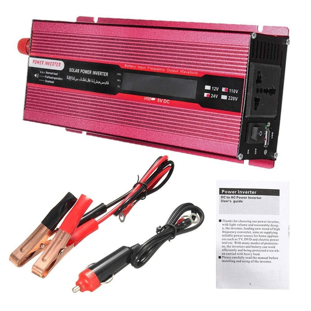 Onduleur de Voiture DC 24V /à 220V Peak Convertisseur Solaire de Voiture 2000W avec convertisseur USB 2.4A Onde sinuso/ïdale modifi/ée Affichage Unique Rouge
