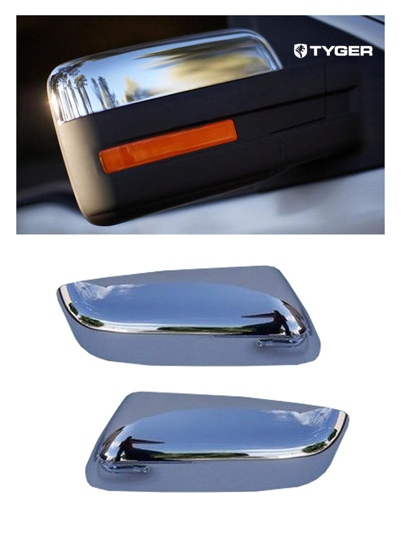 Tyger ABS Triple Chrome Plated A Pair Mirror Covers Fits 09-13 Ford F150 Upper Half