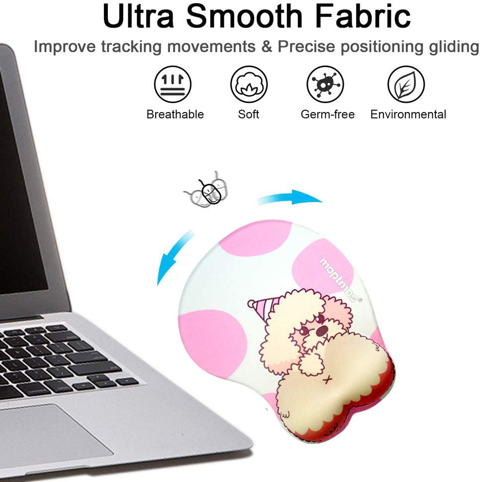 Anime Dog 3D Mouse Pad Soft Gel Ergonomic Mouse Map Office Mousepad with Wrist Support for PC Laptop Teddy Dog