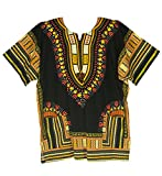 Vipada Handmade's Traditional Dashiki Shirt for men and women Black and Yellow L