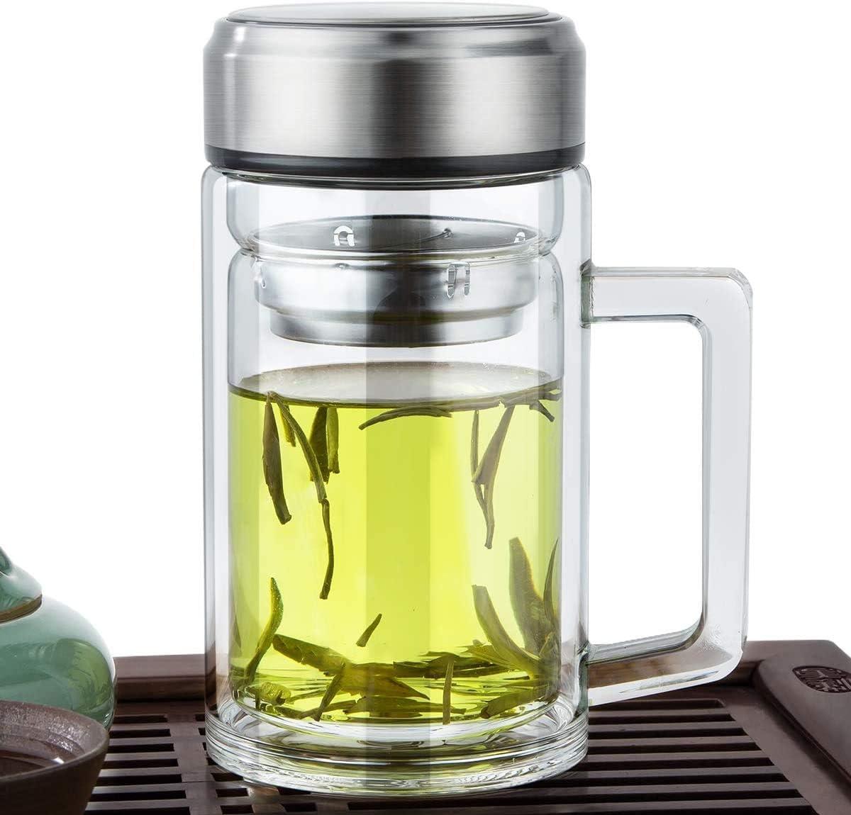 Office Glass Infuser Bottle Tea Tumbler Double Wall Glass Borosilicate Bottle Travel Mug Leakproof Tea Bottle with Strainer Carry Handle For Loose Leaf Tea