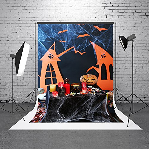 Kate 5X7ft (150cmX220cm) Halloween Party Photo Booth Background Spiderweb Candle Photography Backdrop with Pocket -