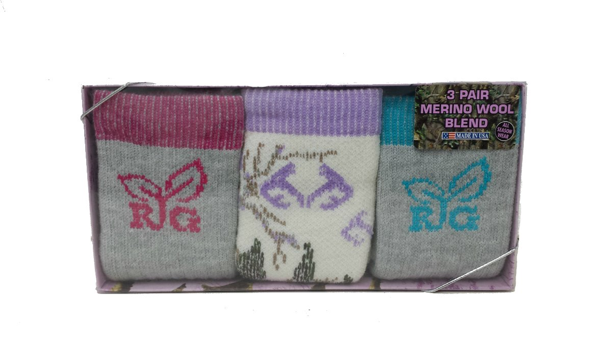 Realtree Girls Gift Box Socks, Assorted, Small