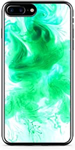iPhone 8 Plus Transparent Edge Phone case Green Water Color iPhone 8 Plus Cover with Transparent Frame