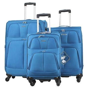 Alexander Set 3Pcs Maleta de Viaje Equipaje Avión Extensible Maleta Blanda con Asa Telescópica 4 Ruedas Giratorias 5 Colores 3 Tamaños (Azul, ...