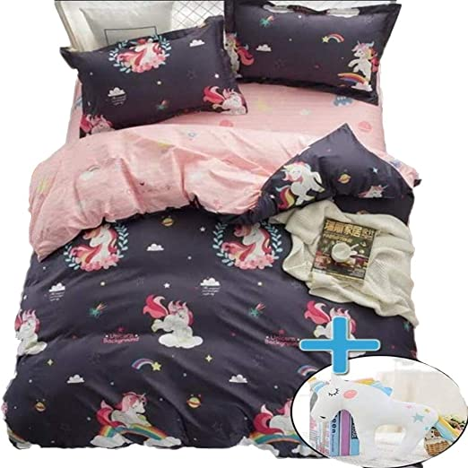 Fitted Sheet /& Toy- Twin Size Unicorn Bedding for Girls-Girls Twin Bedding Sets-Dark Blue Cover de Unicornio NIAPSE 5pcs Unicorn Duvet Cover Sets for Twin Bed Pillow Shams Duvet Cover Unicorn