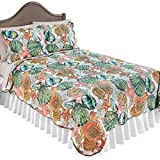 #7: Collections Coastal Shells Quilt Beach Theme Bedroom Décor with Scalloped Edges, King