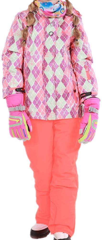 スキーウェア 女の子暖かい防風防水スノーシューズフード付きスキージャケットパンツ2個セット 耐性ジャケット (色 : オレンジ, サイズ : 146/152)