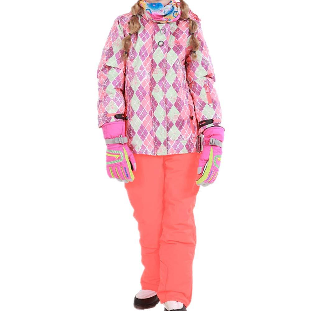 スキーウェア 女の子暖かい防風防水スノーシューズフード付きスキージャケットパンツ2個セット 耐性ジャケット (色 : オレンジ, サイズ : 116/122)