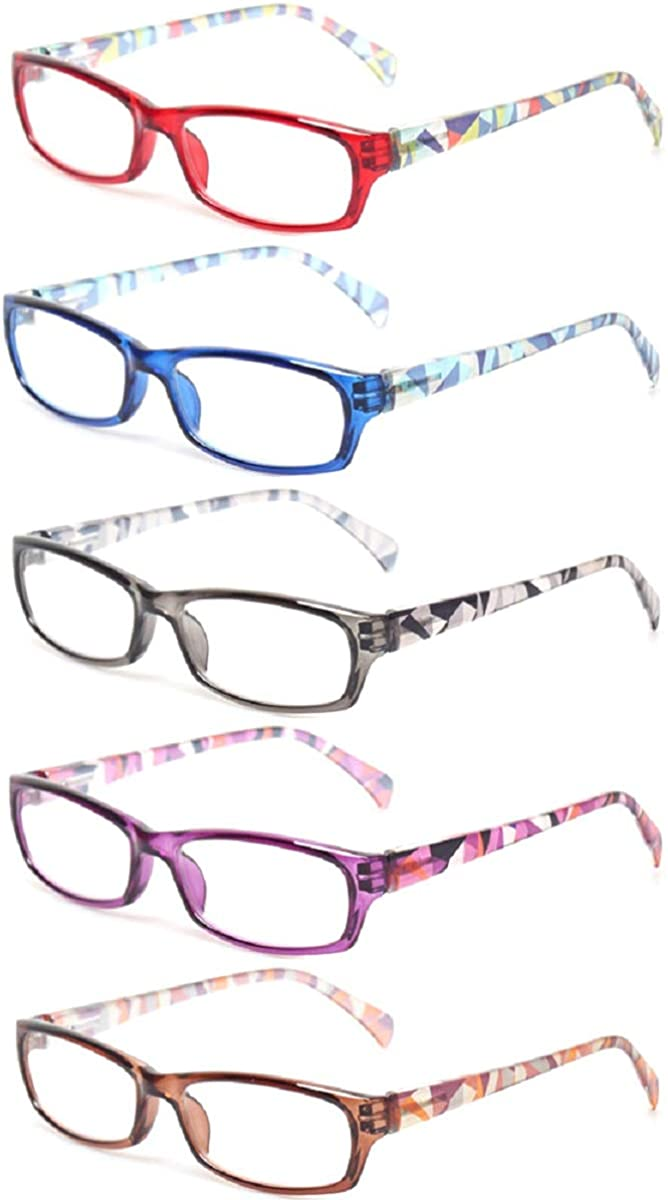 Reading Glasses 5 Pairs Fashion Ladies Readers Spring Hinge with Pattern Print Eyeglasses for Women (5 Pack Mix Color, 2.0): Clothing