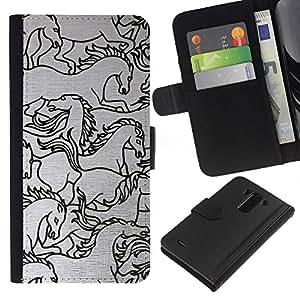 A-type (Horse Drawing Sketch Black White Art) Colorida Impresión Funda Cuero Monedero Caja Bolsa Cubierta Caja Piel Card Slots Para LG G3