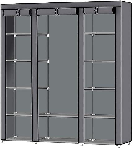 Intirilife Armario Tela Plegable 150x175x45 cm in Gris Ceniza – Guardar Ropa Organizador de Textil Tela Portátil con Cremallera y Barra de Armario per ...