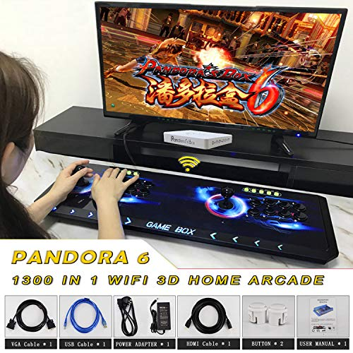 (2019 Newest Luxury Wifi 8 Button Metal Wireless Arcade Video Game Machine 1300 in 1 Retro Games Pandora Box 6 1280x720 Full HD 2 Player Colorful Light PC/PS Joystick Support Extension 3D Game)