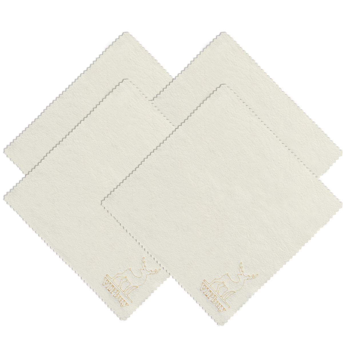 VIPbuy 4 Pack (8'' x 8'') Natural Chamois Leather Cleaning Cloths for Glasses, Eyeglasses, Camera Lens, Cell Phones, Computers, Tablets, LCD Screens, Antique, Instrument by VIPbuy