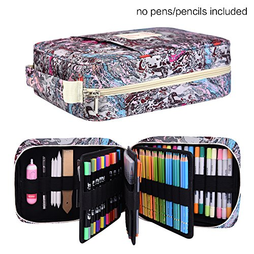 202 Colored Pencils Pencil Case / 136 Color Gel pens Pen Bag/Marker Organizer - Universal Artist use Supply School Zippered Large Capacity Slot Super Big Professional Storage qianshan Fresh