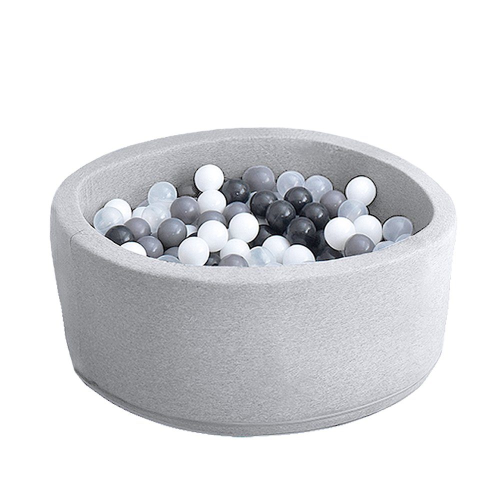 Wonder Space Deluxe Handmade Kids Foam Round Ball Pit| Quality and Durable Premium Drypool with Non-Toxic Safe Materials, SOFE & Thick, Ideal for Little Tots Babies Above 1-Year (Light Grey)