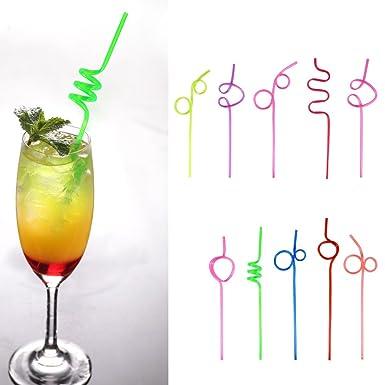 10Pcs Paja de pl/ástico Colorida de bucles Locos Locos de la Paja de Beber para la Barra de la Fiesta de cumplea/ños