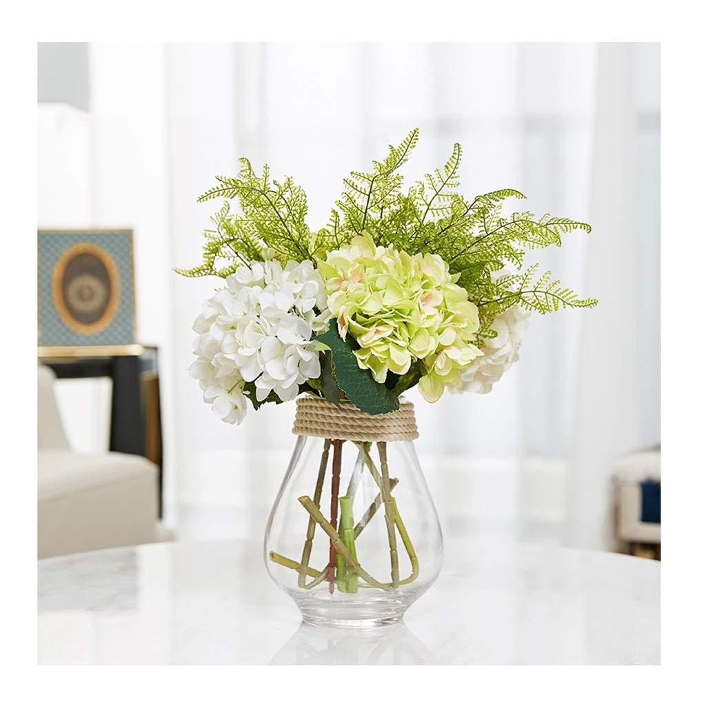 ガラス花瓶 グリーン生地花水耕花ドライフラワーリビングルーム装飾透明花瓶 B07T28JHRV