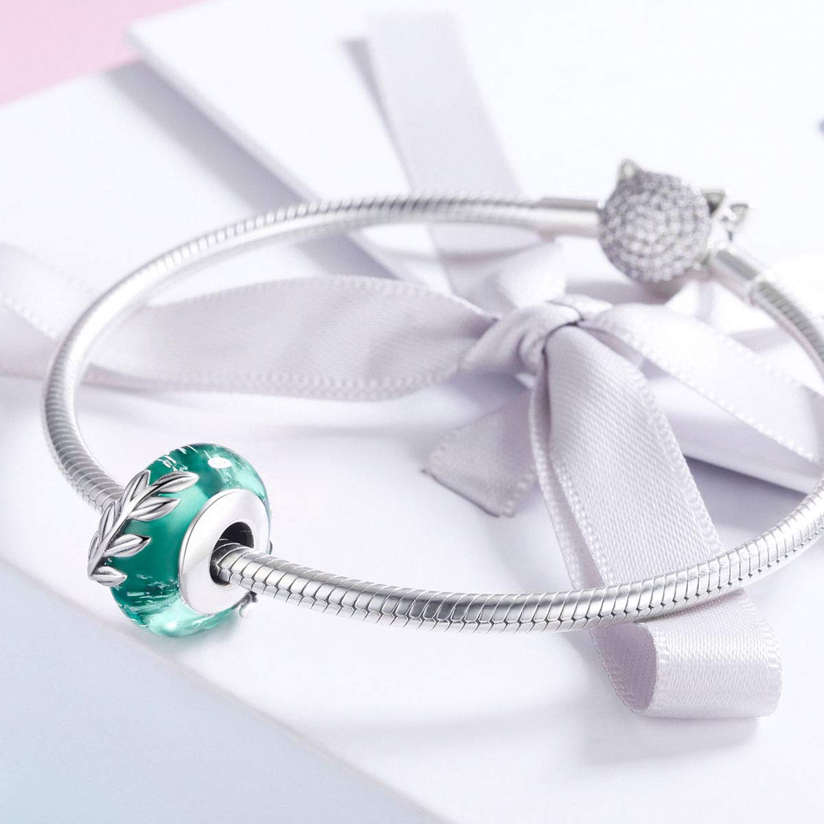 CHENGMEN Christmas Snowflake Rose Flower Murano Glass Beads 925 Sterling Silver for Mum Wife Daughter Gifts fit Bracelet