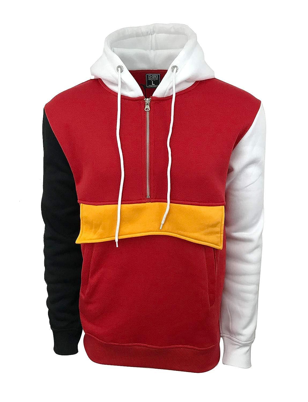 Amazon.com: Henry & William Men's Lightweight Color Blocked Fleece Pocket Hoodie  Sweatshirt-Anorak Style: Clothing