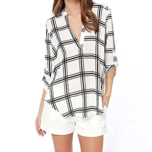 Womens Chiffon Long Sleeve V-Neck Blouse T-Shirt Lattice Pattern Tops (XL)