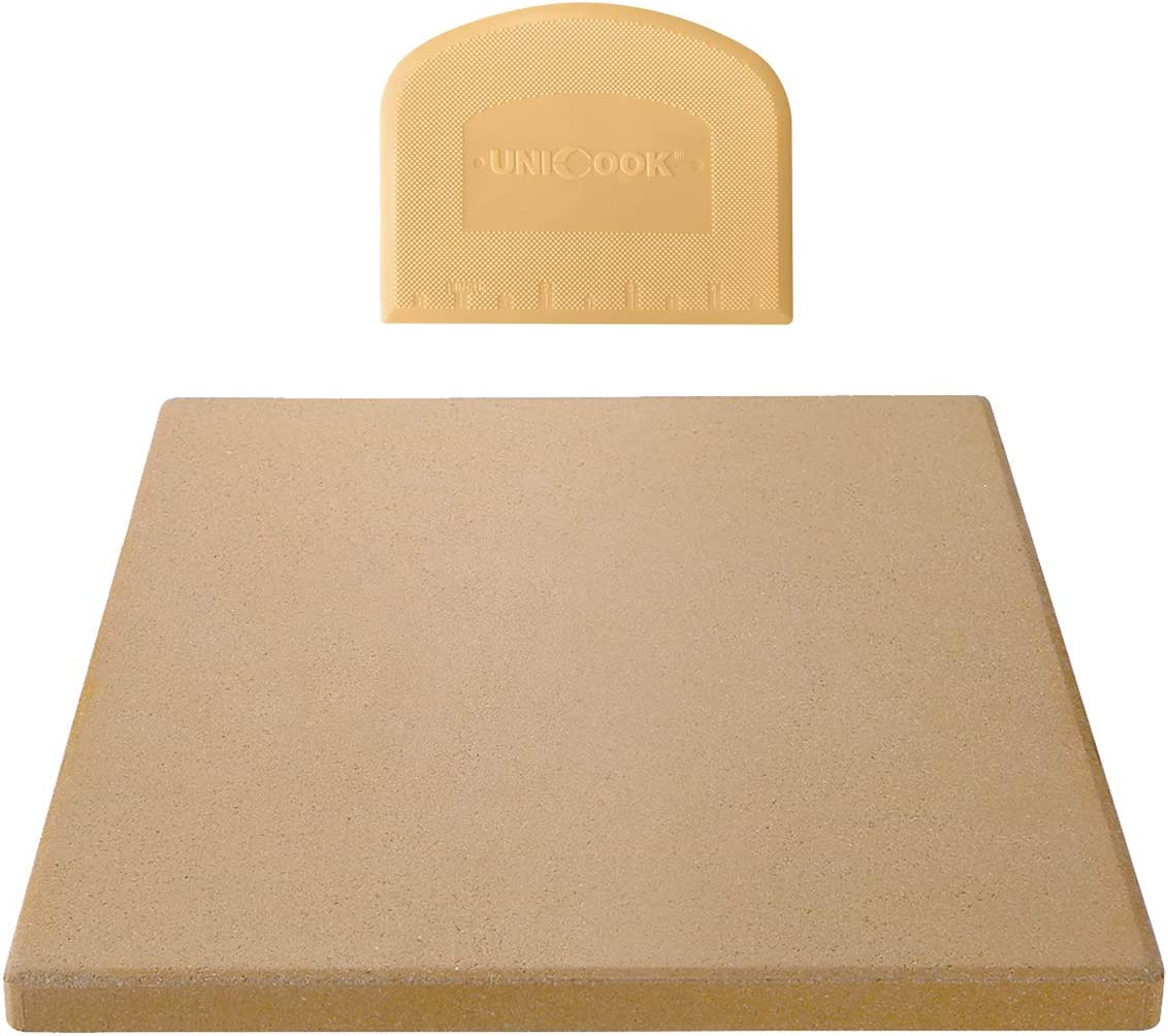 Unicook Pizza Stone for Oven and Grill, 12 inch Square Ceramic Grilling Stone, Heavy Duty Pizza Pan