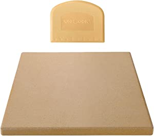 Unicook Pizza Stone for Oven and Grill, 12 inch Square Ceramic Grilling Stone, Heavy Duty Pizza Pan, Thermal Shock Resistant Baking Stone for BBQ and Grill, Making Pizza, Bread, Cookie and More
