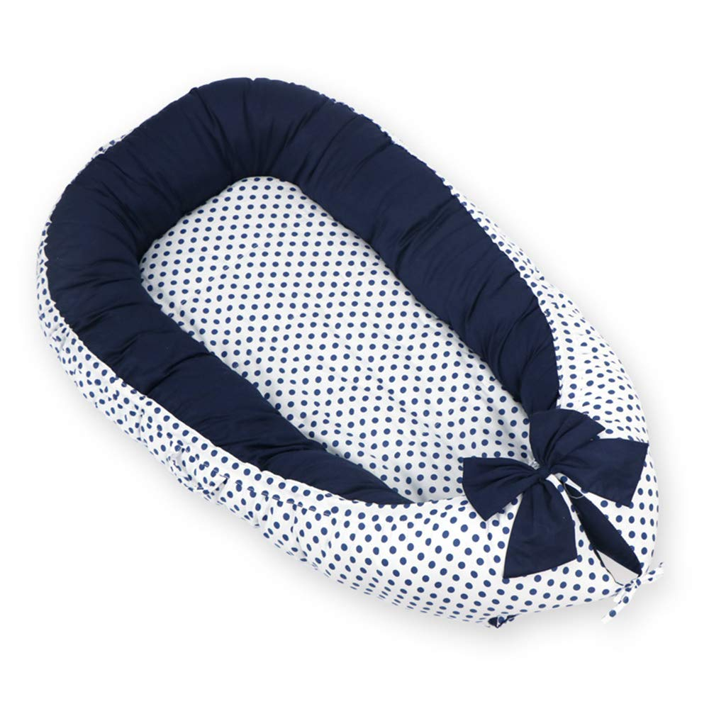Abreeze Baby Bassinet for Bed -Polka Dot-Navy Baby Lounger - Breathable & Hypoallergenic Co-Sleeping Baby Bed - 100% Cotton Portable Crib for Bedroom/Travel by Abreeze
