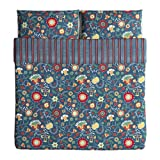 Ikea Rosenrips King Duvet Cover and Pillowcases Blue Patterned 203.380.34