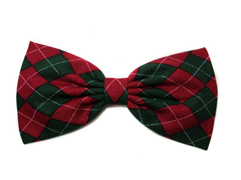 Christmas Red & Green Argyle Hair Bow (Alligator Clip)