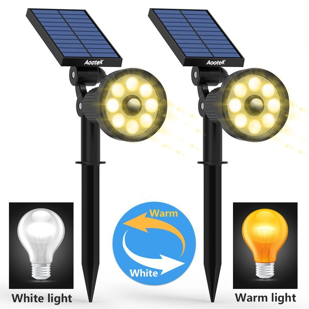 Solar Lights Outdoor Upgraded Motion Sensor with 8 White and 8Warm LED Solar Spotlight Adjust Wall Light Landscape Security Lighting Auto On/Off for Patio Yard Garden Driveway Pathway Pool Area(Pack2) by Aootek