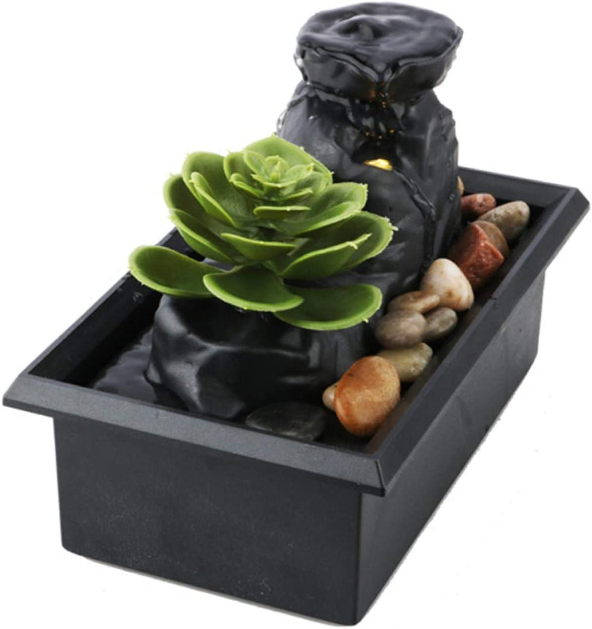 Tabletop Water Fountain,Feng Shui Zen Indoor Waterfall Fountain with LED Light for Home Office Decor