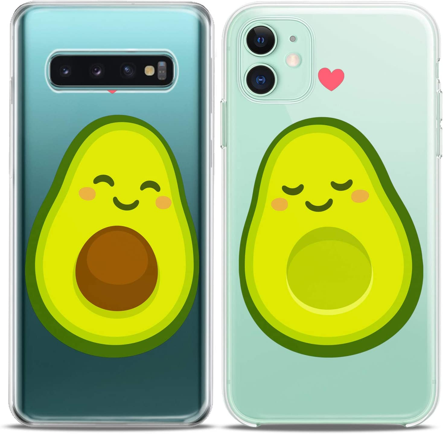 Cavka Matching Couple Cases Replacement for Samsung Galaxy S20 Note 20 5G S10e A71 A50 A11 A01 S7 S8 Avocado Kawaii Fruit Clear Silicone Pair Cover Adorable Green BFF Anniversary Girls Cute Friend