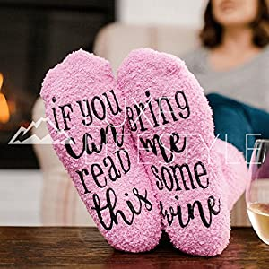 "LUXE LIFESTYLE ""If You Can Read This Bring Me Some Wine"" – Funny Socks Cupcake Gift Packaging – Fuzzy Warm Cotton Sister Wife Women Hostess Housewarming Novelty Romantic Birthday Present Wine Lover"