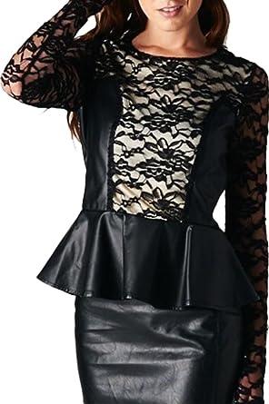 Black Peplum Long Sleeve Dresses for Juniors