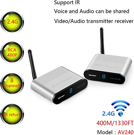 Measy 400M/1330FT AV240 2.4G Wireless AV Audio & Video Sender Transmitter & Receiver System for DVD/DVR / IPTV/CCTV Camera/TV
