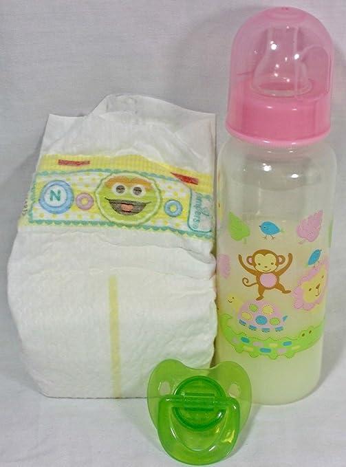 Reborn Baby Doll OOAK Girl Faux Formula Milk Bottle Modified Pacifier Pamper Set