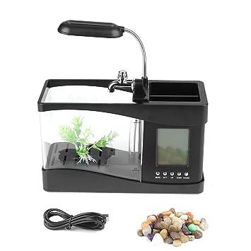 Garosa Tanque de Peces de Acuario Multifuncional USB Recargable Pequeño Cuenco de Pescado con Función de Reloj LED Encierro de Pluma(Black): Amazon.es: ...