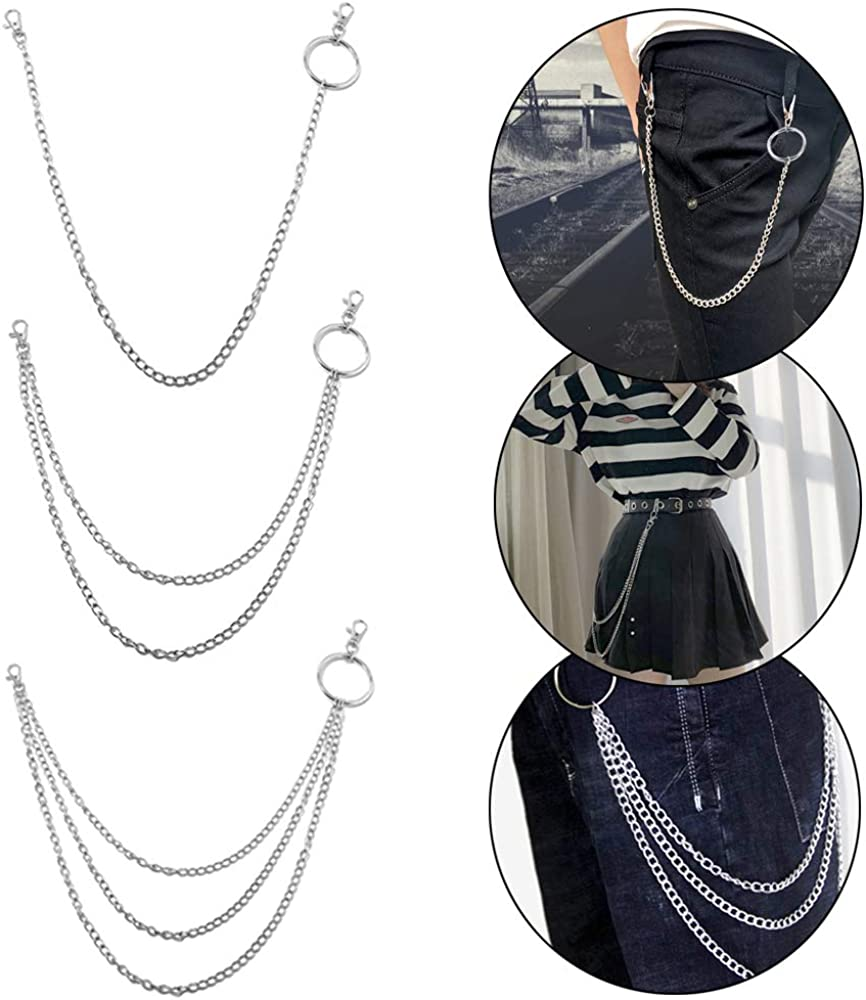 Ceqiny 3pcs Pocket Chain Jeans Chains Women Pants Chain Waist Chain Belt Chains Hip Hop Punk Chain DIY Motorcycle Jean Gothic Rock Key Chain with Lobster Claw Clasp Trigger Snap Hook for Men Silver