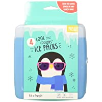 Fit & Fresh Cool Coolers Freezer Packs Slim Ice Pack for Lunch Box, Set of 4, Blue